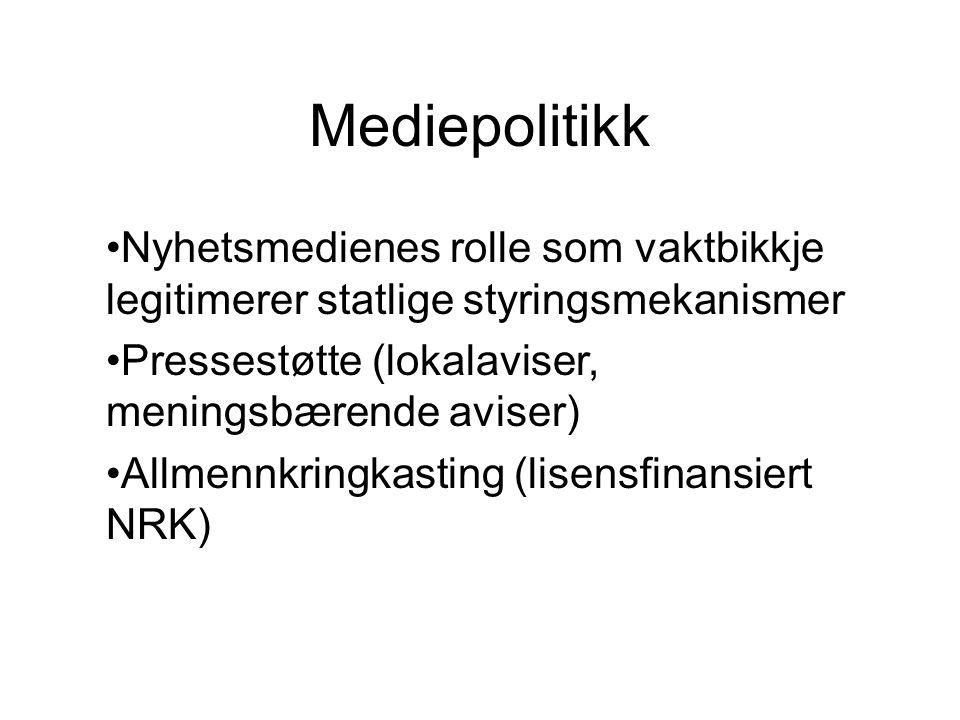 Mediepolitikk Nyhetsmedienes rolle som vaktbikkje legitimerer statlige styringsmekanismer Pressestøtte (lokalaviser, meningsbærende aviser) Allmennkri