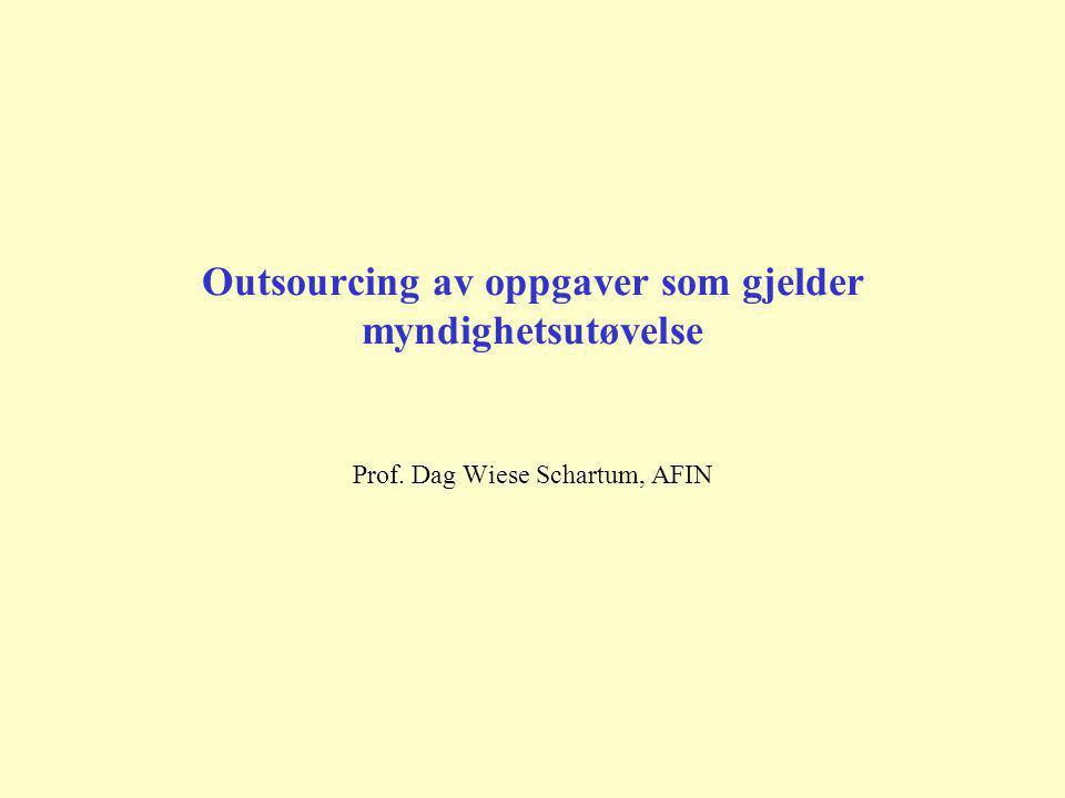 Outsourcing av oppgaver som gjelder myndighetsutøvelse Prof. Dag Wiese Schartum, AFIN