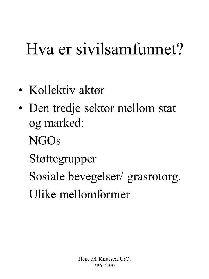 Hege M. Knutsen, UiO, sgo 2300 Hva er sivilsamfunnet? Kollektiv aktør Den tredje sektor mellom stat og marked: NGOs Støttegrupper Sosiale bevegelser/