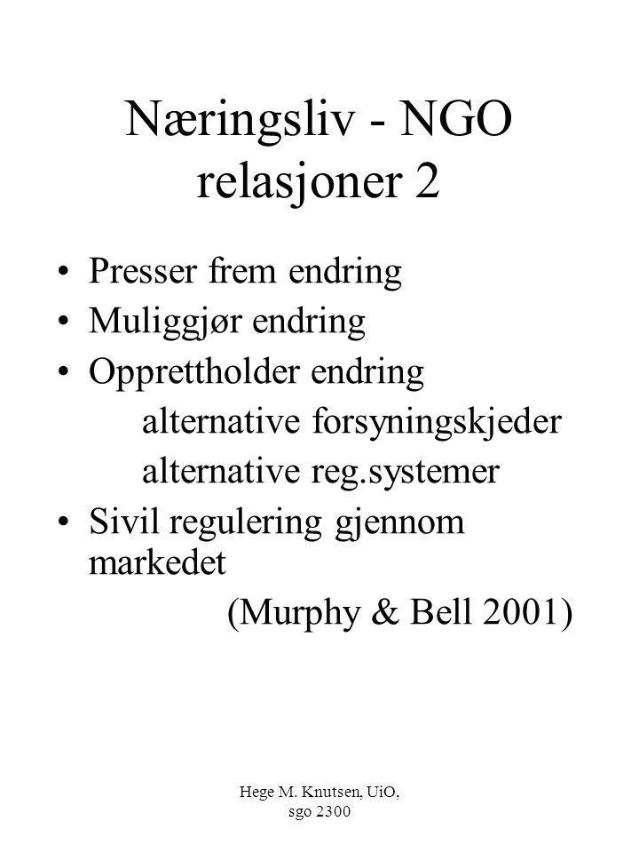 Hege M. Knutsen, UiO, sgo 2300 Næringsliv - NGO relasjoner 2 Presser frem endring Muliggjør endring Opprettholder endring alternative forsyningskjeder