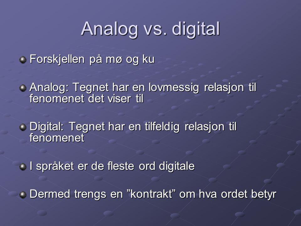 Analog vs. digital Forskjellen på mø og ku Analog: Tegnet har en lovmessig relasjon til fenomenet det viser til Digital: Tegnet har en tilfeldig relas