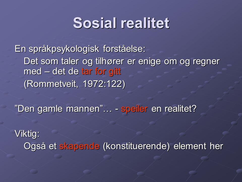 """Sosial realitet En språkpsykologisk forståelse: Det som taler og tilhører er enige om og regner med – det de tar for gitt (Rommetveit, 1972:122) """"Den"""