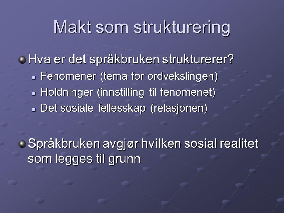 Makt som strukturering Hva er det språkbruken strukturerer? Fenomener (tema for ordvekslingen) Fenomener (tema for ordvekslingen) Holdninger (innstill