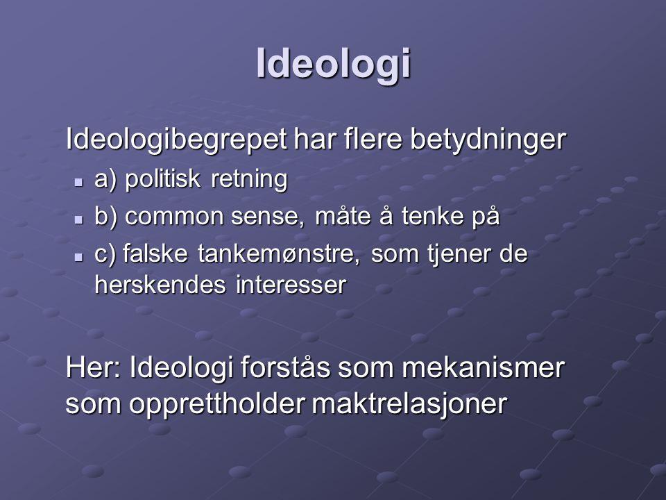 Ideologi Ideologibegrepet har flere betydninger a) politisk retning a) politisk retning b) common sense, måte å tenke på b) common sense, måte å tenke