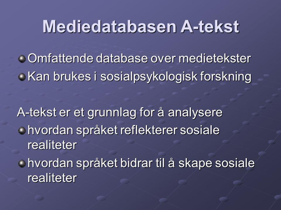 Mediedatabasen A-tekst Omfattende database over medietekster Kan brukes i sosialpsykologisk forskning A-tekst er et grunnlag for å analysere hvordan s