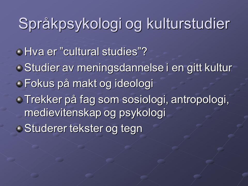 """Språkpsykologi og kulturstudier Hva er """"cultural studies""""? Studier av meningsdannelse i en gitt kultur Fokus på makt og ideologi Trekker på fag som so"""