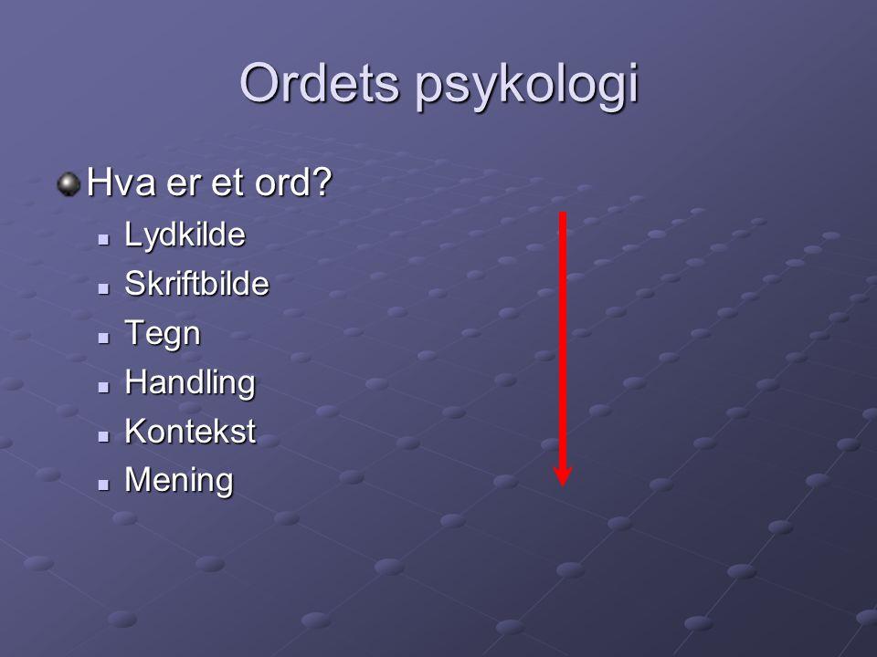 Ordets psykologi Hva er et ord? Lydkilde Lydkilde Skriftbilde Skriftbilde Tegn Tegn Handling Handling Kontekst Kontekst Mening Mening