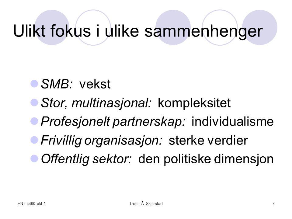 ENT 4400 økt 1Tronn Å.Skjerstad29 Produktutvikling Tar flere former - oppfinnelser (f.eks.