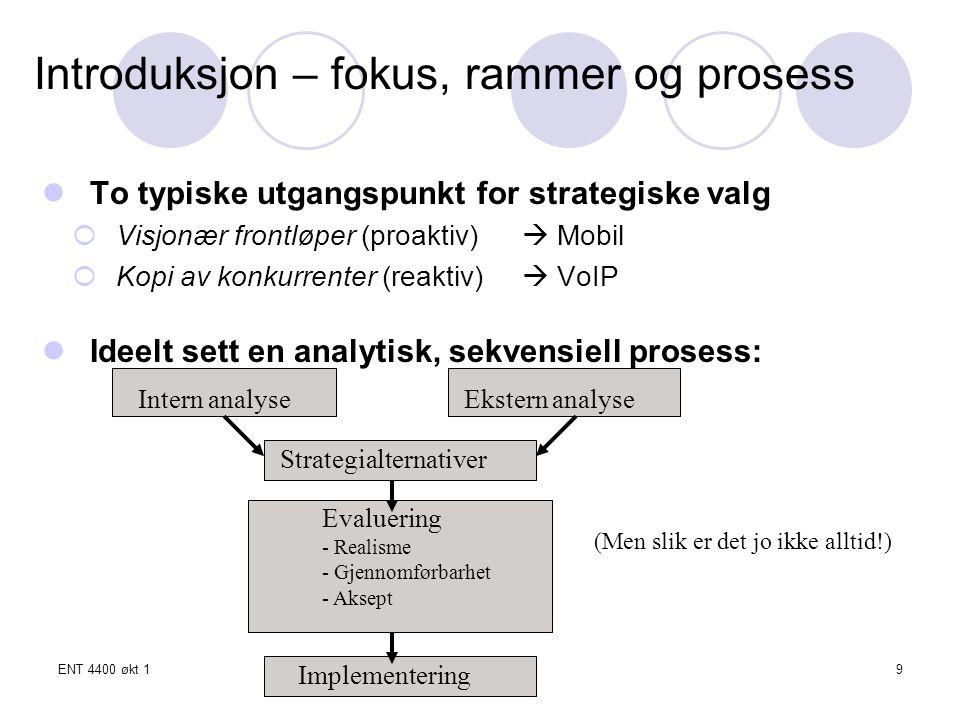 ENT 4400 økt 1Tronn Å.Skjerstad20 STRATEGIALTERNATIVER STRATEGI- ALTERNATIVER (a) Hvilken basis.