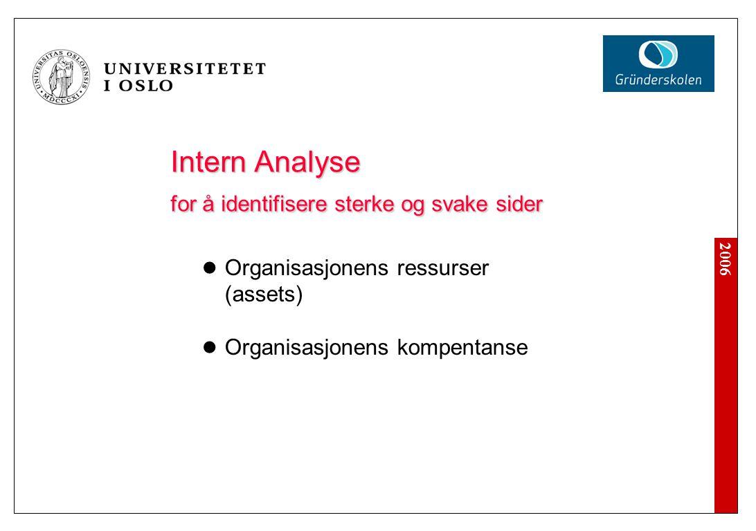 2006 Intern Analyse for å identifisere sterke og svake sider Organisasjonens ressurser (assets) Organisasjonens kompentanse