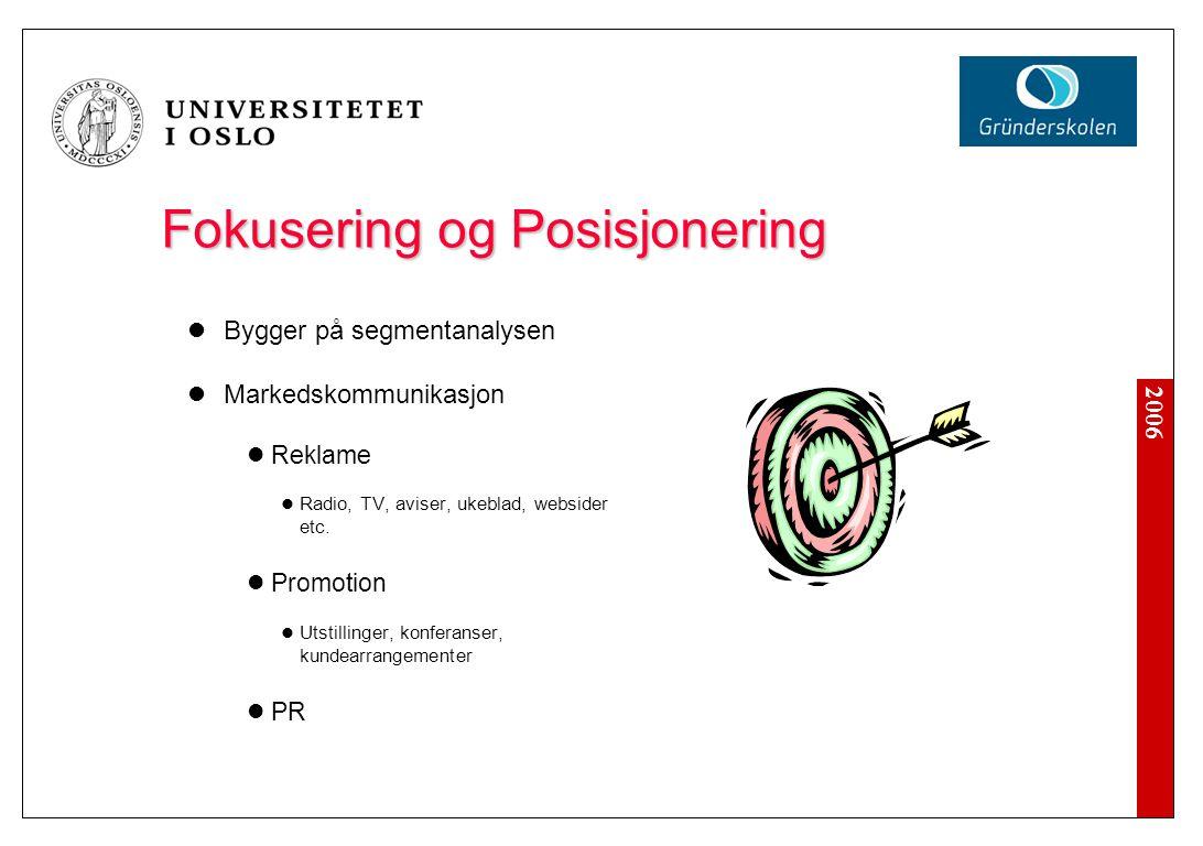2006 Fokusering og Posisjonering Bygger på segmentanalysen Markedskommunikasjon Reklame Radio, TV, aviser, ukeblad, websider etc. Promotion Utstilling