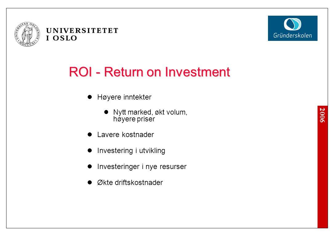 2006 ROI - Return on Investment Høyere inntekter Nytt marked, økt volum, høyere priser Lavere kostnader Investering i utvikling Investeringer i nye re