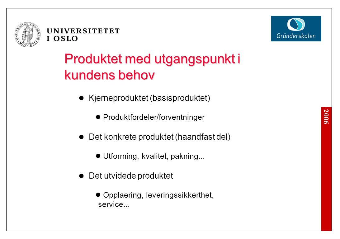 2006 Produktet med utgangspunkt i kundens behov Kjerneproduktet (basisproduktet) Produktfordeler/forventninger Det konkrete produktet (haandfast del)