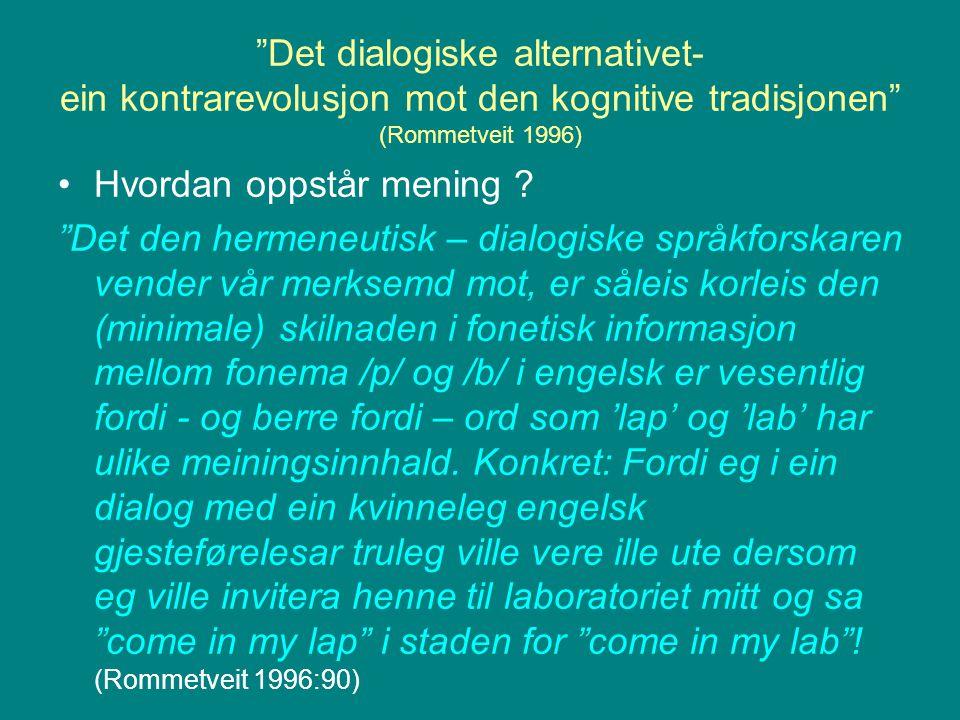 """""""Det dialogiske alternativet- ein kontrarevolusjon mot den kognitive tradisjonen"""" (Rommetveit 1996) Hvordan oppstår mening ? """"Det den hermeneutisk – d"""