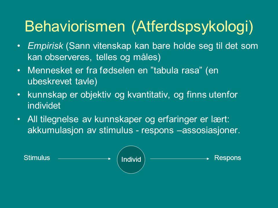 Behaviorismen (Atferdspsykologi) Empirisk (Sann vitenskap kan bare holde seg til det som kan observeres, telles og måles) Mennesket er fra fødselen en