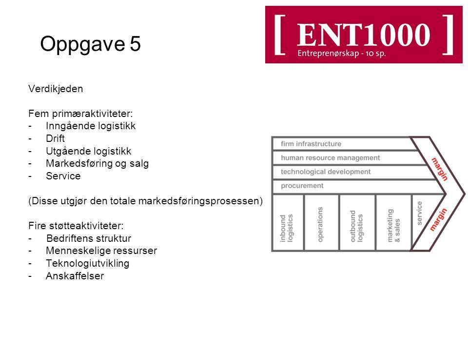 Oppgave 5 Verdikjeden Fem primæraktiviteter: -Inngående logistikk -Drift -Utgående logistikk -Markedsføring og salg -Service (Disse utgjør den totale markedsføringsprosessen) Fire støtteaktiviteter: - Bedriftens struktur -Menneskelige ressurser -Teknologiutvikling -Anskaffelser
