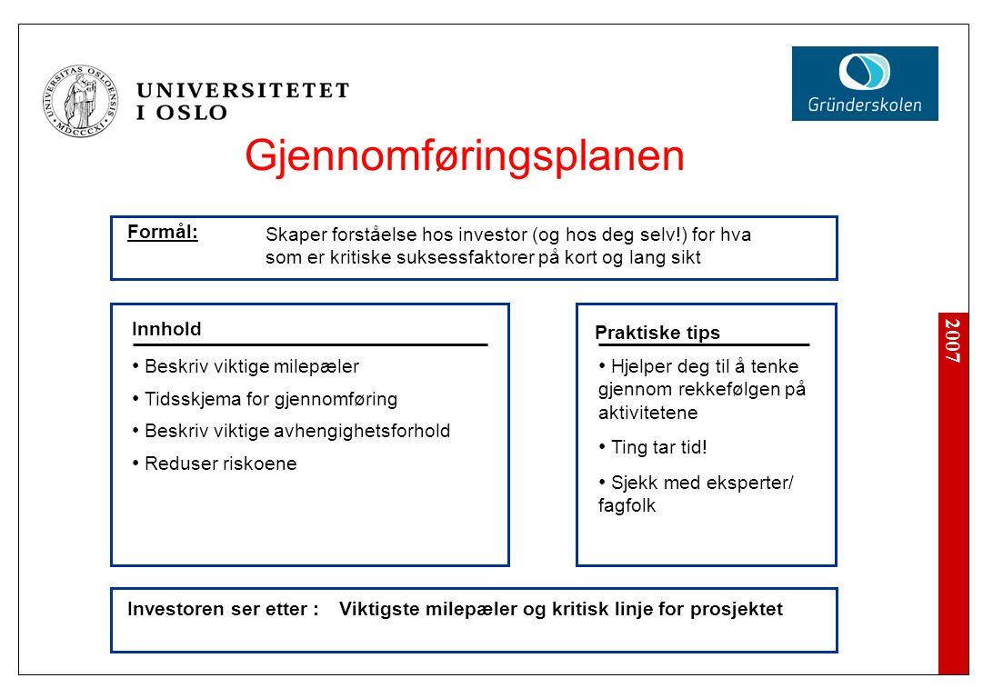 2007 Investoren ser etter : Hjelper deg til å tenke gjennom rekkefølgen på aktivitetene Ting tar tid.