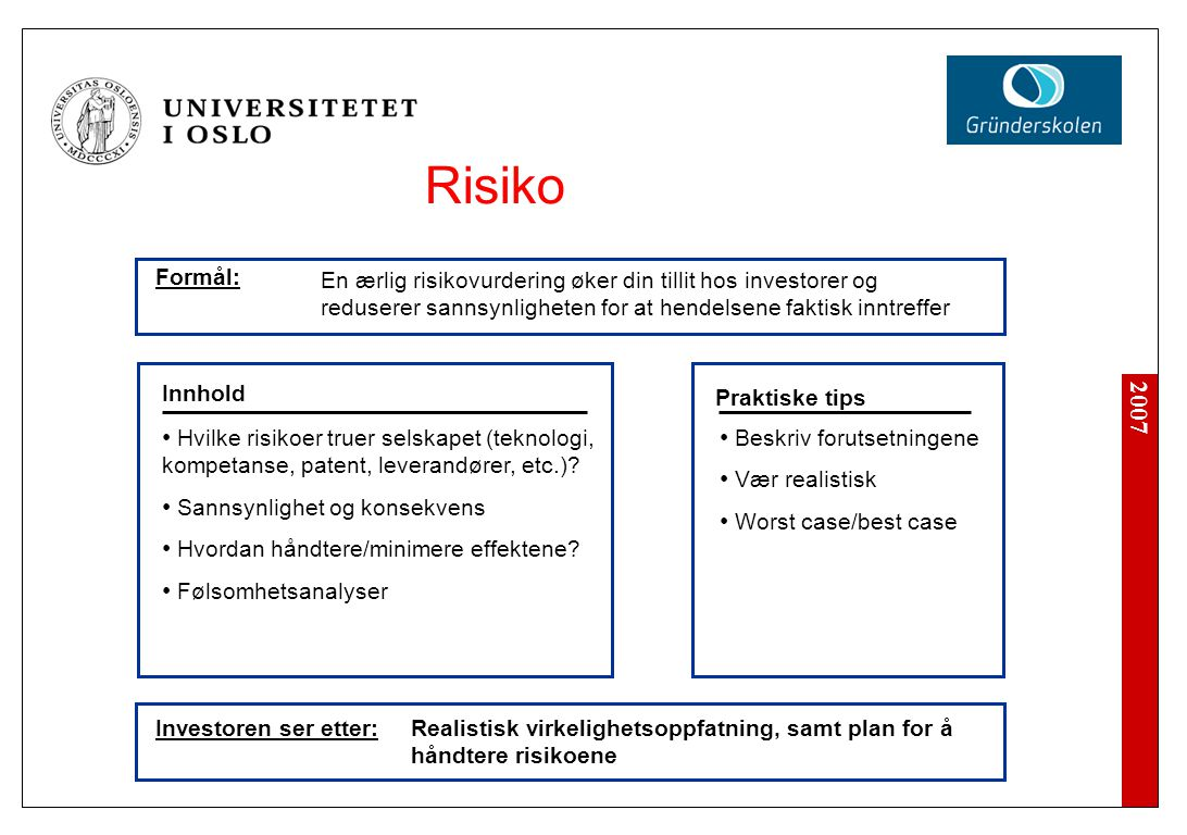 2007 Investoren ser etter: Beskriv forutsetningene Vær realistisk Worst case/best case Innhold Praktiske tips Hvilke risikoer truer selskapet (teknologi, kompetanse, patent, leverandører, etc.).