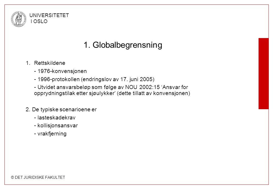 © DET JURIDISKE FAKULTET UNIVERSITETET I OSLO 1. Globalbegrensning 1.Rettskildene - 1976-konvensjonen - 1996-protokollen (endringslov av 17. juni 2005