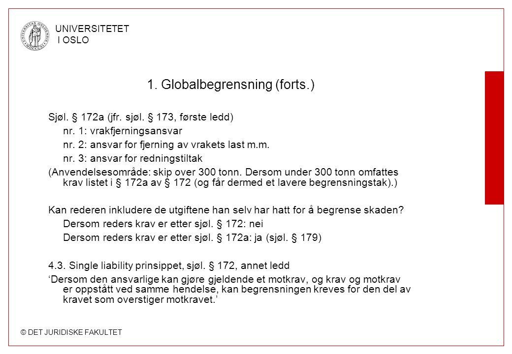 © DET JURIDISKE FAKULTET UNIVERSITETET I OSLO 1. Globalbegrensning (forts.) Sjøl. § 172a (jfr. sjøl. § 173, første ledd) nr. 1: vrakfjerningsansvar nr