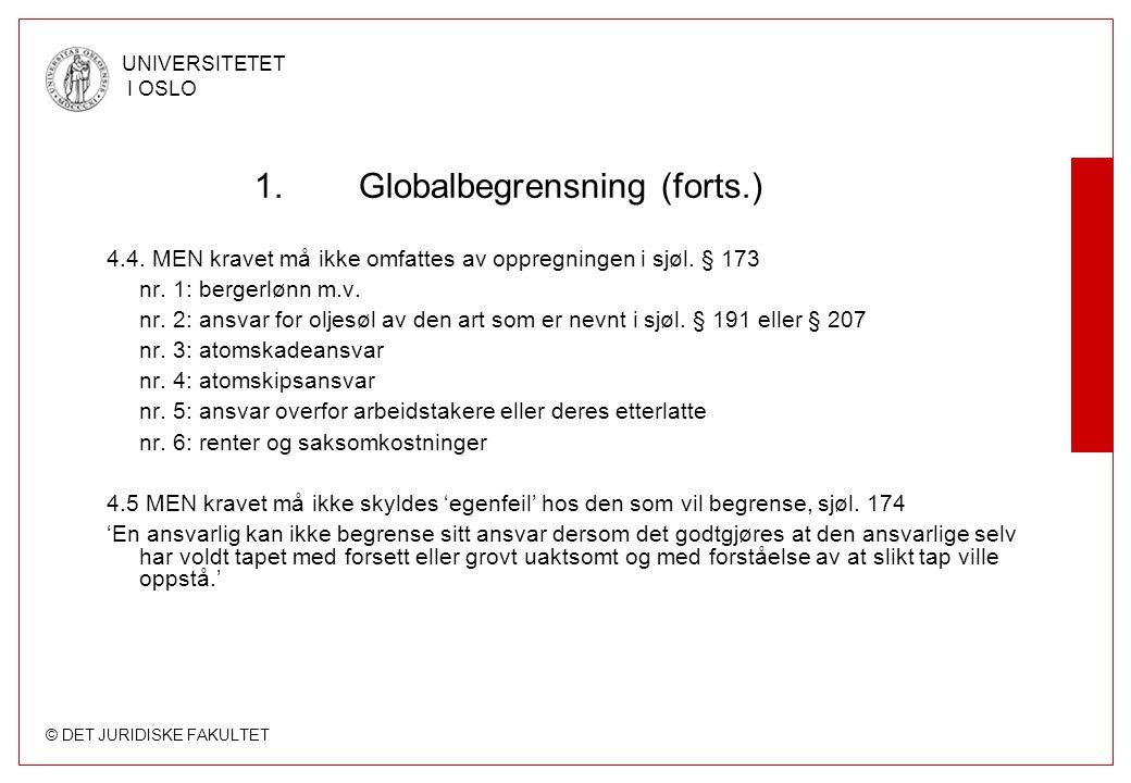 © DET JURIDISKE FAKULTET UNIVERSITETET I OSLO 1.Globalbegrensning (forts.) 4.4. MEN kravet må ikke omfattes av oppregningen i sjøl. § 173 nr. 1: berge