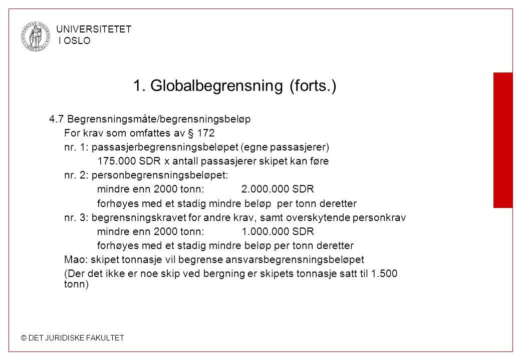 © DET JURIDISKE FAKULTET UNIVERSITETET I OSLO 1. Globalbegrensning (forts.) 4.7 Begrensningsmåte/begrensningsbeløp For krav som omfattes av § 172 nr.