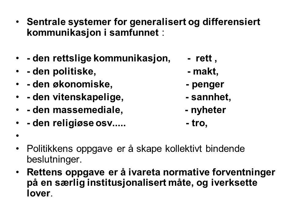 Sentrale systemer for generalisert og differensiert kommunikasjon i samfunnet : - den rettslige kommunikasjon, - rett, - den politiske, - makt, - den