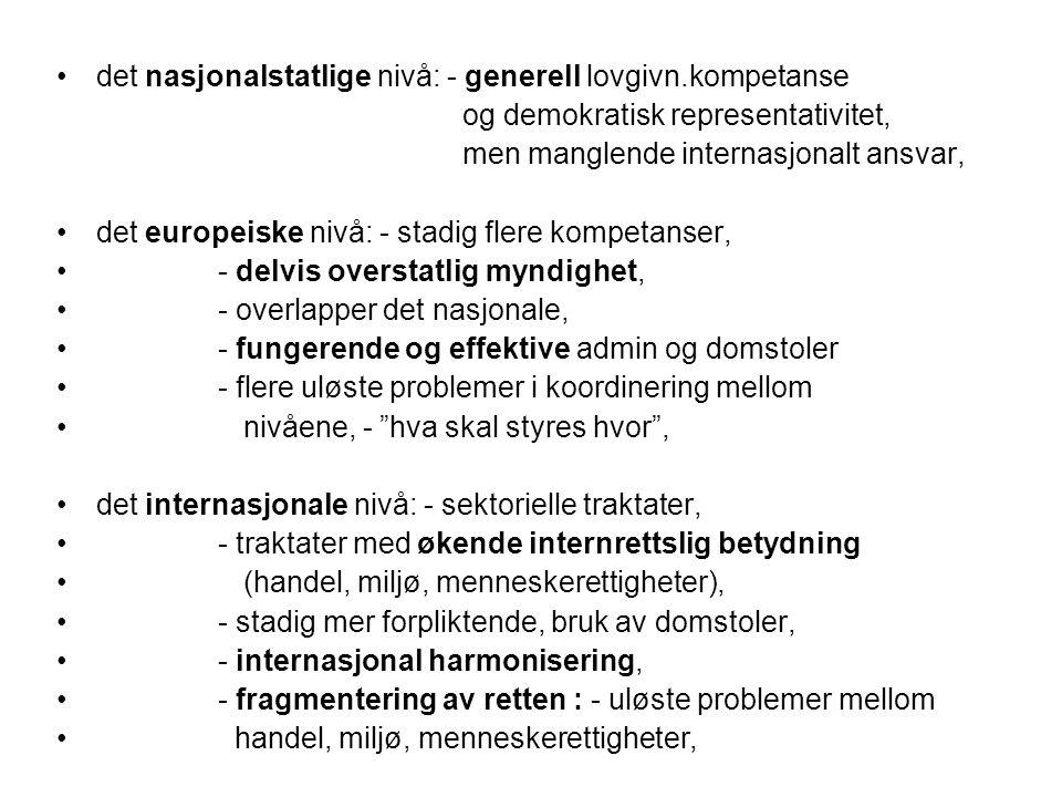 det nasjonalstatlige nivå: - generell lovgivn.kompetanse og demokratisk representativitet, men manglende internasjonalt ansvar, det europeiske nivå: -