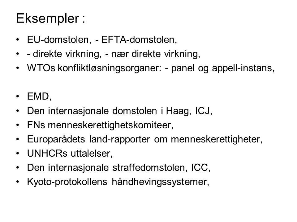 Eksempler : EU-domstolen, - EFTA-domstolen, - direkte virkning, - nær direkte virkning, WTOs konfliktløsningsorganer: - panel og appell-instans, EMD,