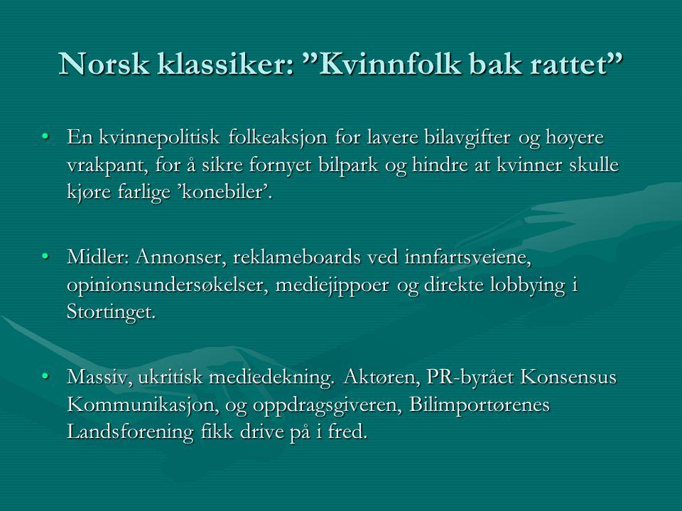 """Norsk klassiker: """"Kvinnfolk bak rattet"""" En kvinnepolitisk folkeaksjon for lavere bilavgifter og høyere vrakpant, for å sikre fornyet bilpark og hindre"""