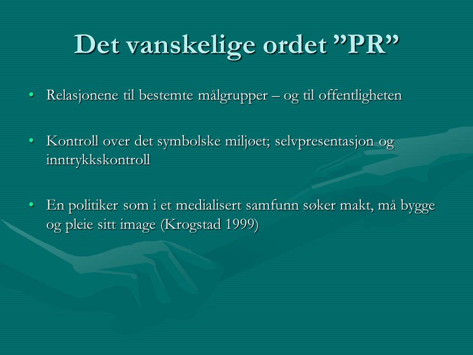 """Det vanskelige ordet """"PR"""" Relasjonene til bestemte målgrupper – og til offentlighetenRelasjonene til bestemte målgrupper – og til offentligheten Kontr"""