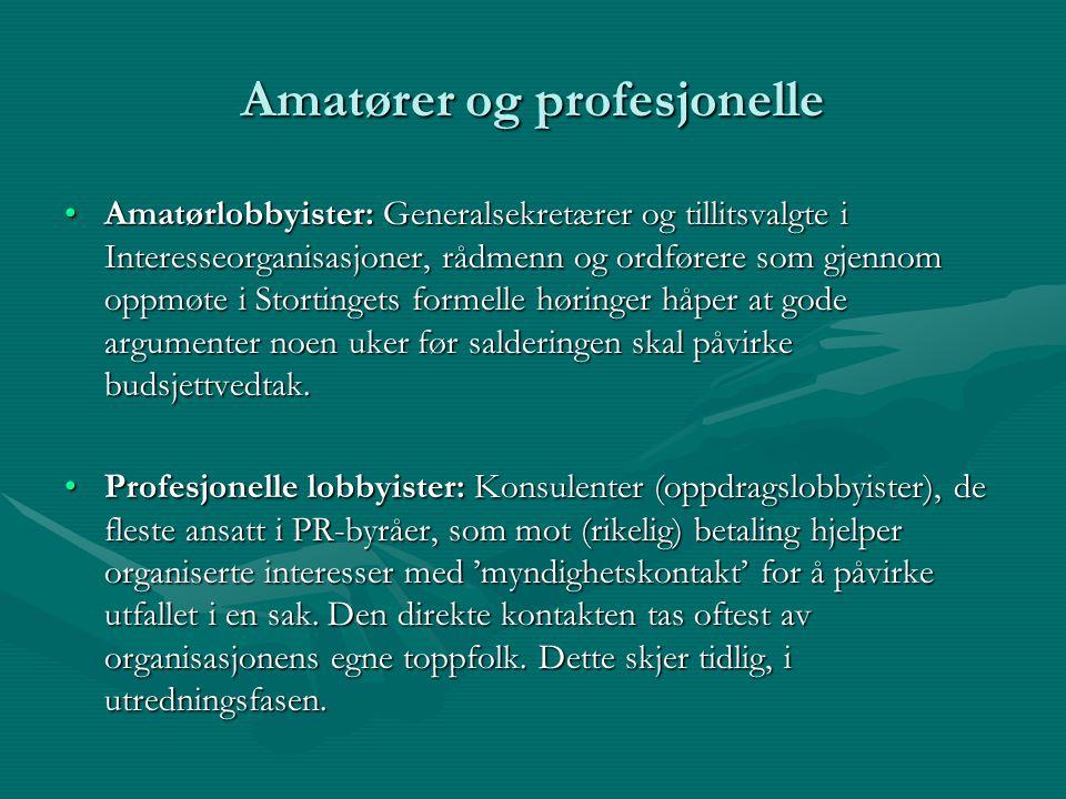 Amatører og profesjonelle Amatørlobbyister: Generalsekretærer og tillitsvalgte i Interesseorganisasjoner, rådmenn og ordførere som gjennom oppmøte i S