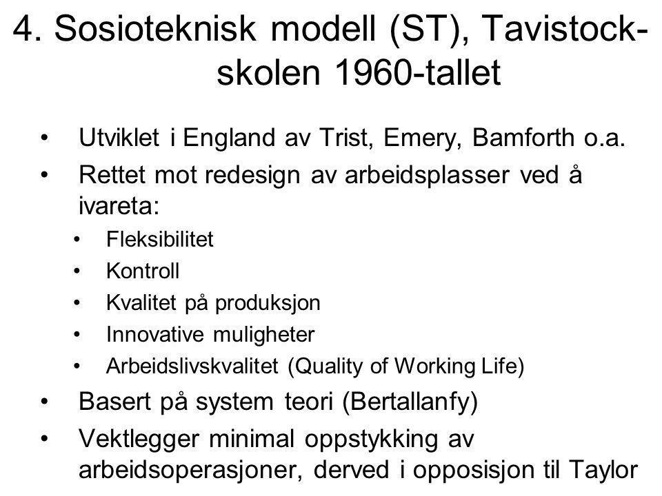 4. Sosioteknisk modell (ST), Tavistock- skolen 1960-tallet Utviklet i England av Trist, Emery, Bamforth o.a. Rettet mot redesign av arbeidsplasser ved