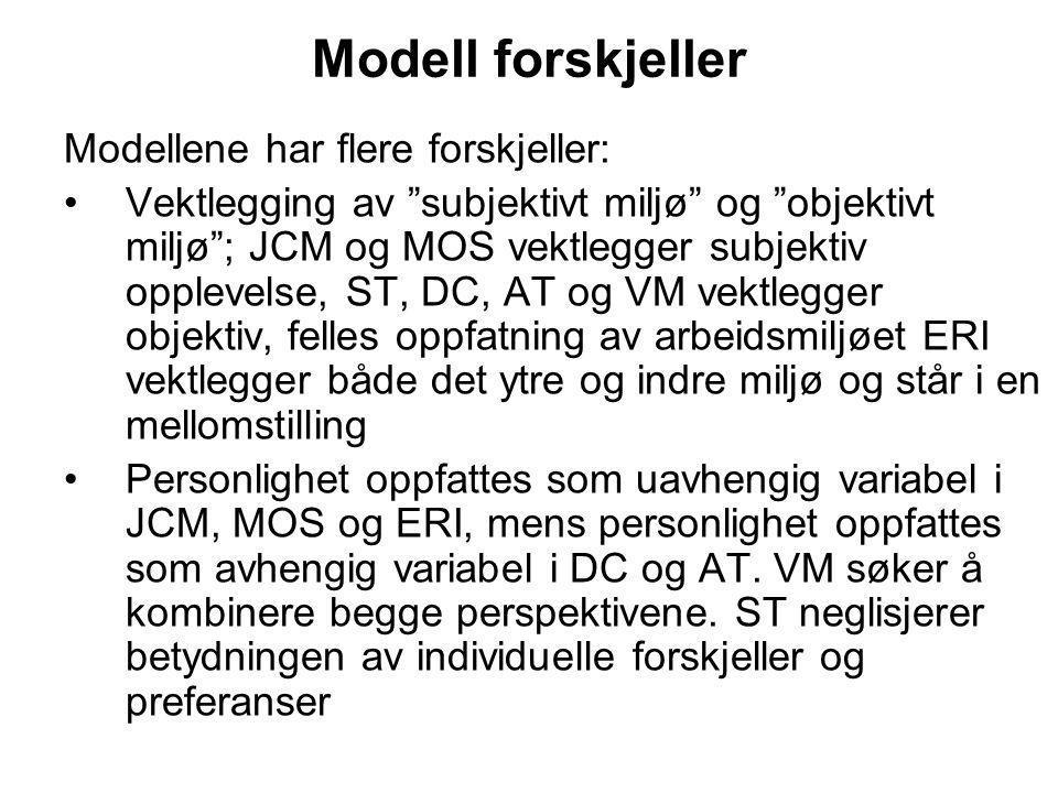 """Modell forskjeller Modellene har flere forskjeller: Vektlegging av """"subjektivt miljø"""" og """"objektivt miljø""""; JCM og MOS vektlegger subjektiv opplevelse"""