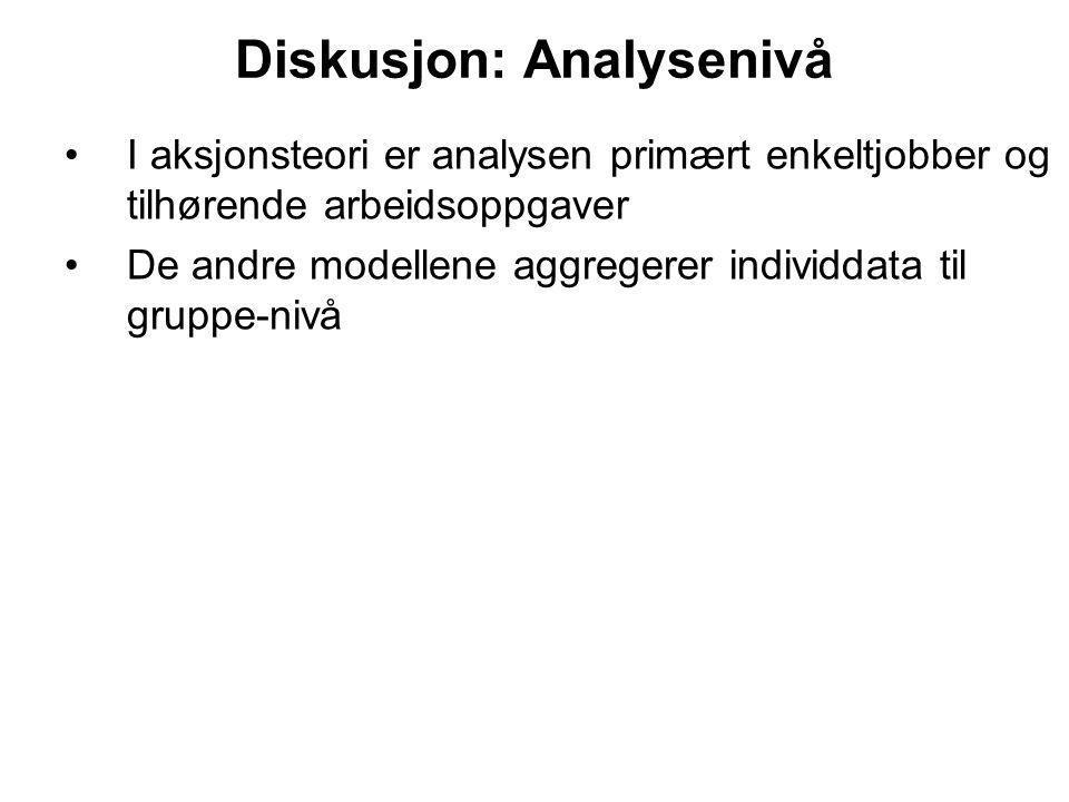 Diskusjon: Analysenivå I aksjonsteori er analysen primært enkeltjobber og tilhørende arbeidsoppgaver De andre modellene aggregerer individdata til gru