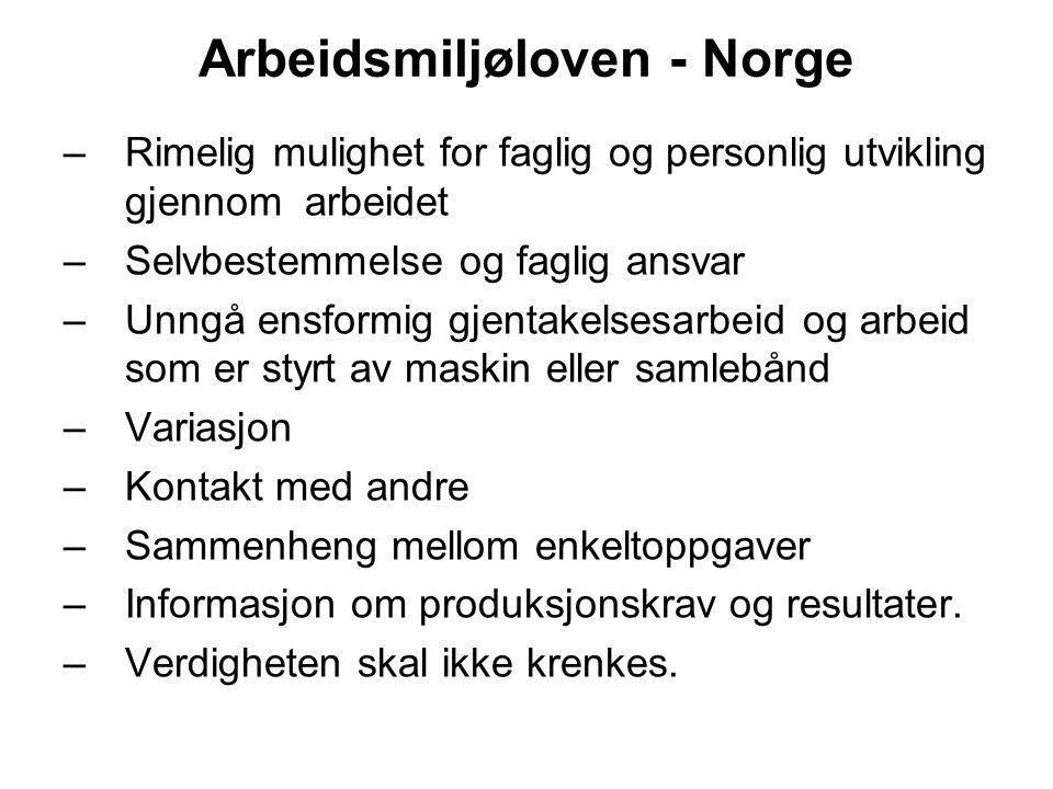 Arbeidsmiljøloven - Norge –Rimelig mulighet for faglig og personlig utvikling gjennom arbeidet –Selvbestemmelse og faglig ansvar –Unngå ensformig gjen
