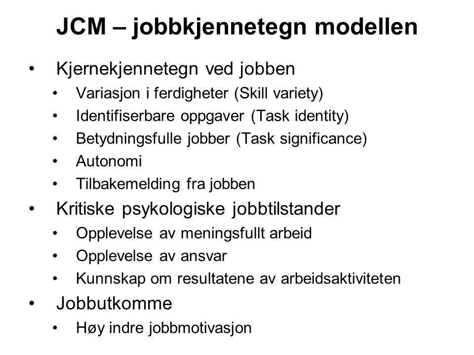 JCM – jobbkjennetegn modellen Kjernekjennetegn ved jobben Variasjon i ferdigheter (Skill variety) Identifiserbare oppgaver (Task identity) Betydningsf