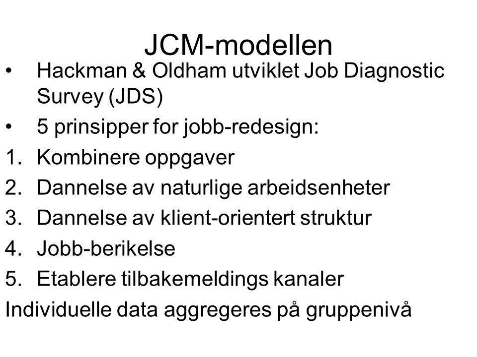Kritikk av JCM-modellen Modellen har vært gjenstand for omfattende forskningsprogrammer siden 1970-tallet som viser sammenheng mellom jobbmotivasjon og tilfredshet og kjenredimensjonene Kritikk av teoretisk grunnlag (antall kjernedimensjoner, årsaksmodeller) Kritikk av begrepsoperasjonaliseringen Kritikk av hvorvidt spørsmål måler objektive forhold i forhold til subjektive