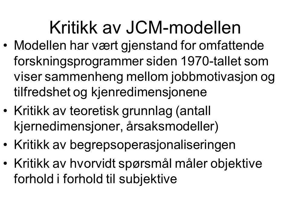 Kritikk av JCM-modellen Modellen har vært gjenstand for omfattende forskningsprogrammer siden 1970-tallet som viser sammenheng mellom jobbmotivasjon o