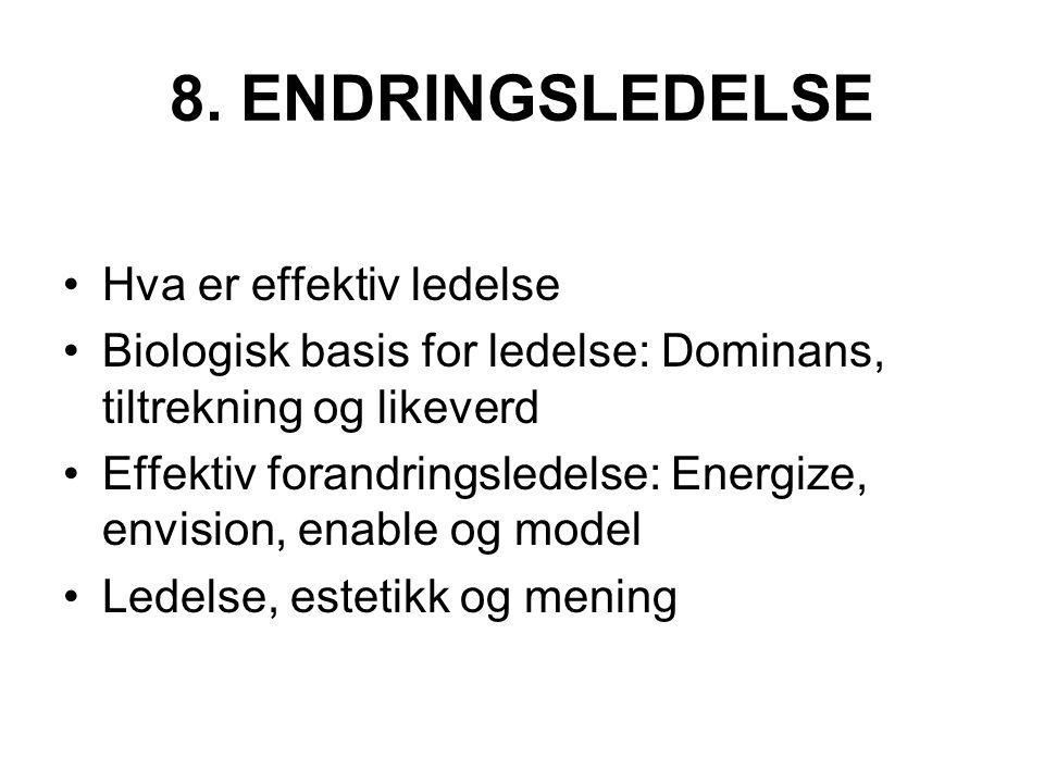 8. ENDRINGSLEDELSE Hva er effektiv ledelse Biologisk basis for ledelse: Dominans, tiltrekning og likeverd Effektiv forandringsledelse: Energize, envis