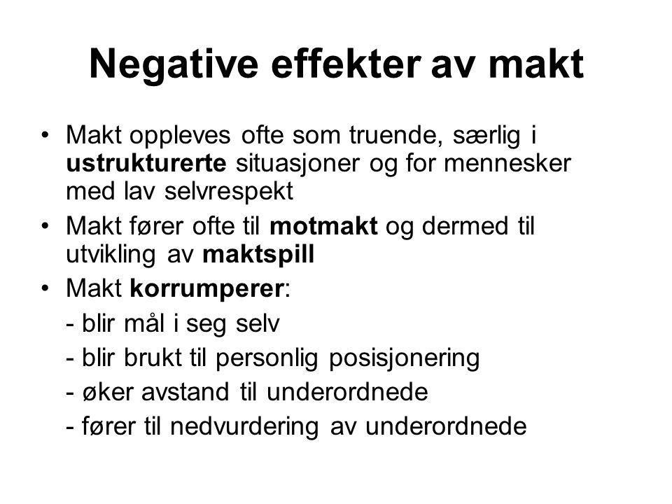 Negative effekter av makt Makt oppleves ofte som truende, særlig i ustrukturerte situasjoner og for mennesker med lav selvrespekt Makt fører ofte til