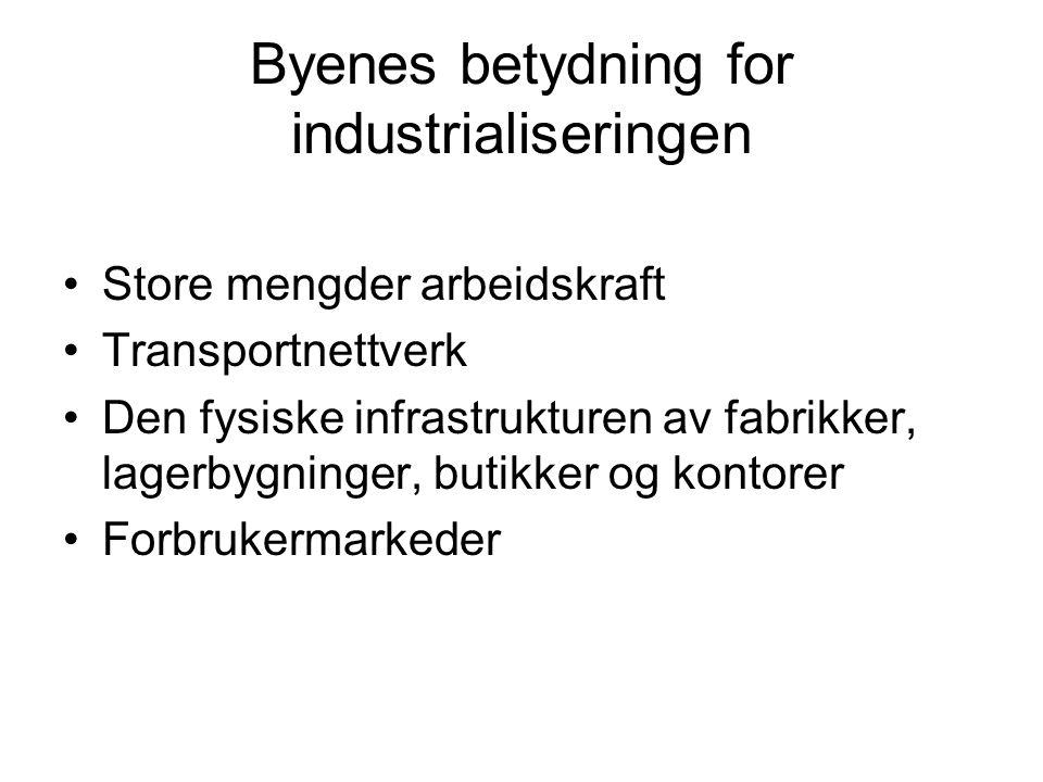 Byenes betydning for industrialiseringen Store mengder arbeidskraft Transportnettverk Den fysiske infrastrukturen av fabrikker, lagerbygninger, butikk