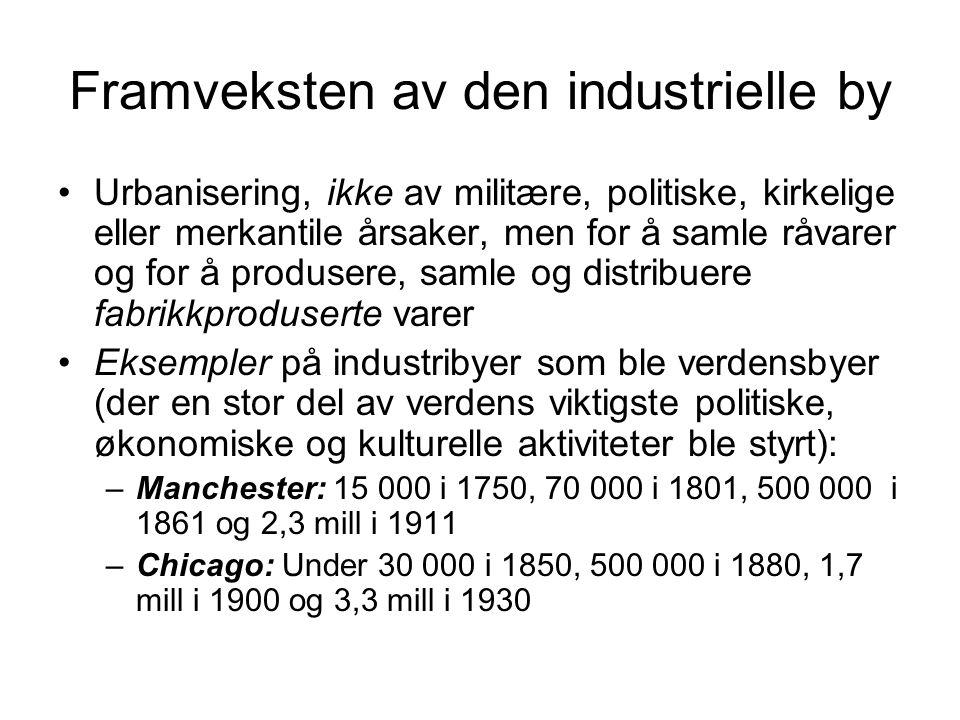 Framveksten av den industrielle by Urbanisering, ikke av militære, politiske, kirkelige eller merkantile årsaker, men for å samle råvarer og for å pro