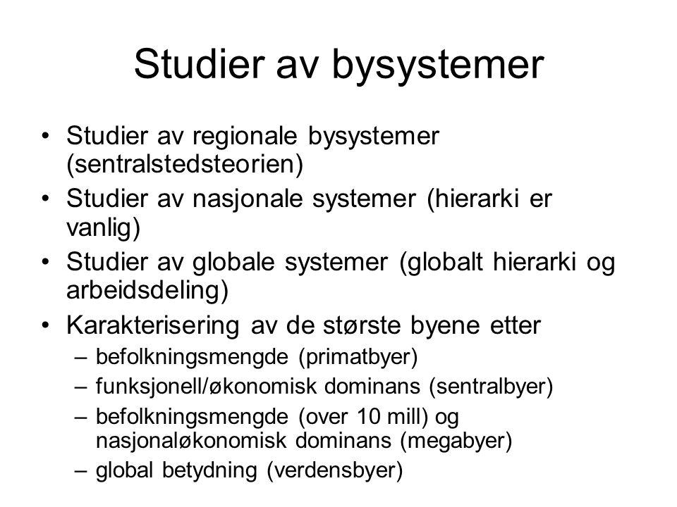 Studier av bysystemer Studier av regionale bysystemer (sentralstedsteorien) Studier av nasjonale systemer (hierarki er vanlig) Studier av globale syst