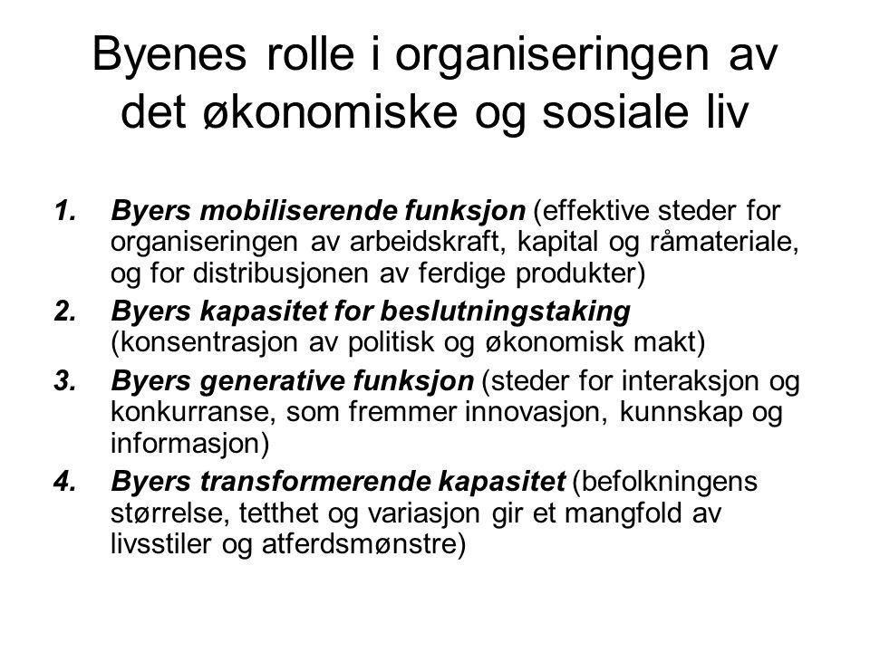 Byenes rolle i organiseringen av det økonomiske og sosiale liv 1.Byers mobiliserende funksjon (effektive steder for organiseringen av arbeidskraft, ka