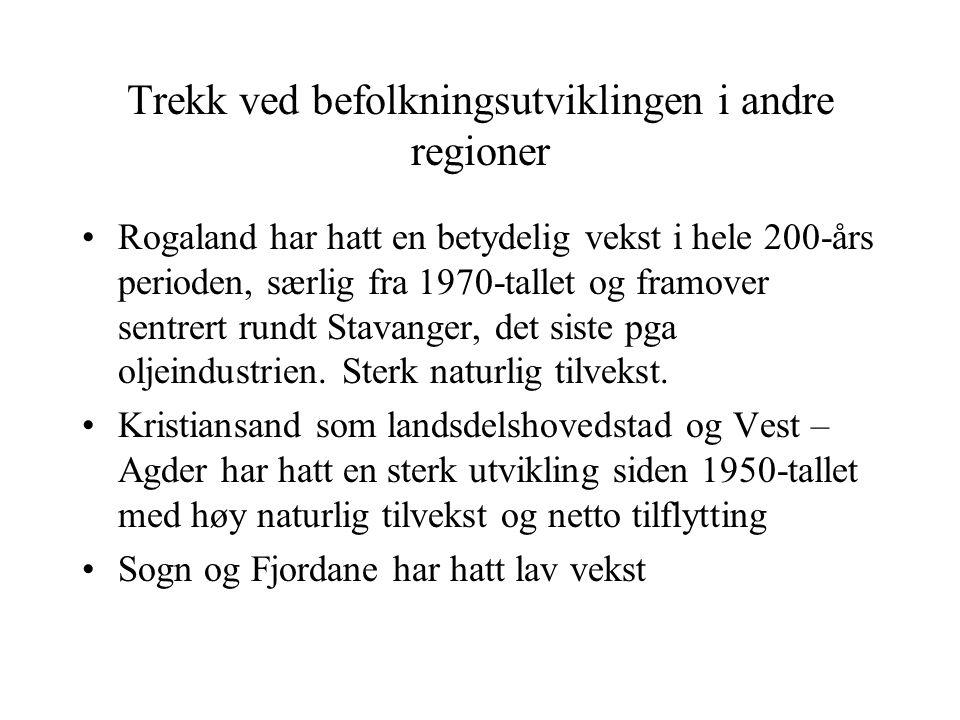 Trekk ved befolkningsutviklingen i andre regioner Rogaland har hatt en betydelig vekst i hele 200-års perioden, særlig fra 1970-tallet og framover sentrert rundt Stavanger, det siste pga oljeindustrien.