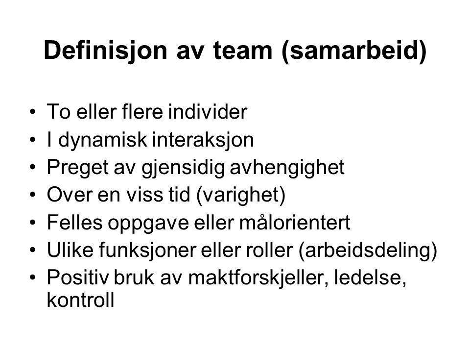 Definisjon av team (samarbeid) To eller flere individer I dynamisk interaksjon Preget av gjensidig avhengighet Over en viss tid (varighet) Felles oppg