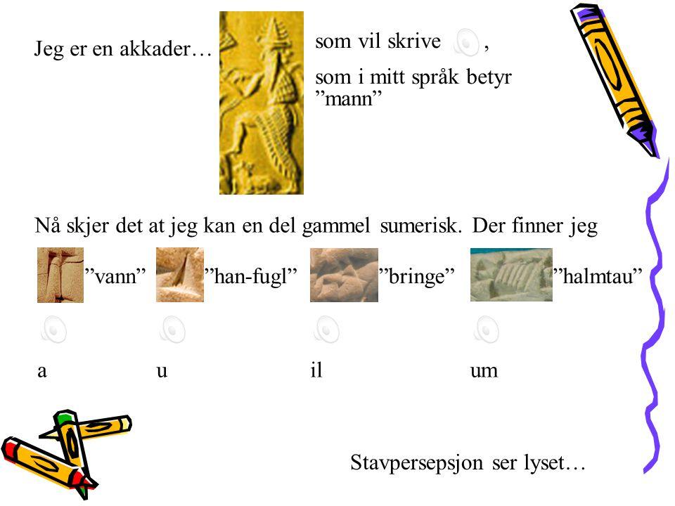 """Jeg er en akkader… Nå skjer det at jeg kan en del gammel sumerisk. Der finner jeg som vil skrive, """"vann""""""""han-fugl""""""""bringe""""""""halmtau"""" Stavpersepsjon ser"""