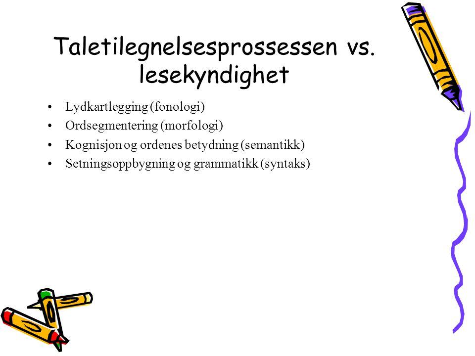 Taletilegnelsesprossessen vs. lesekyndighet Lydkartlegging (fonologi) Ordsegmentering (morfologi) Kognisjon og ordenes betydning (semantikk) Setningso