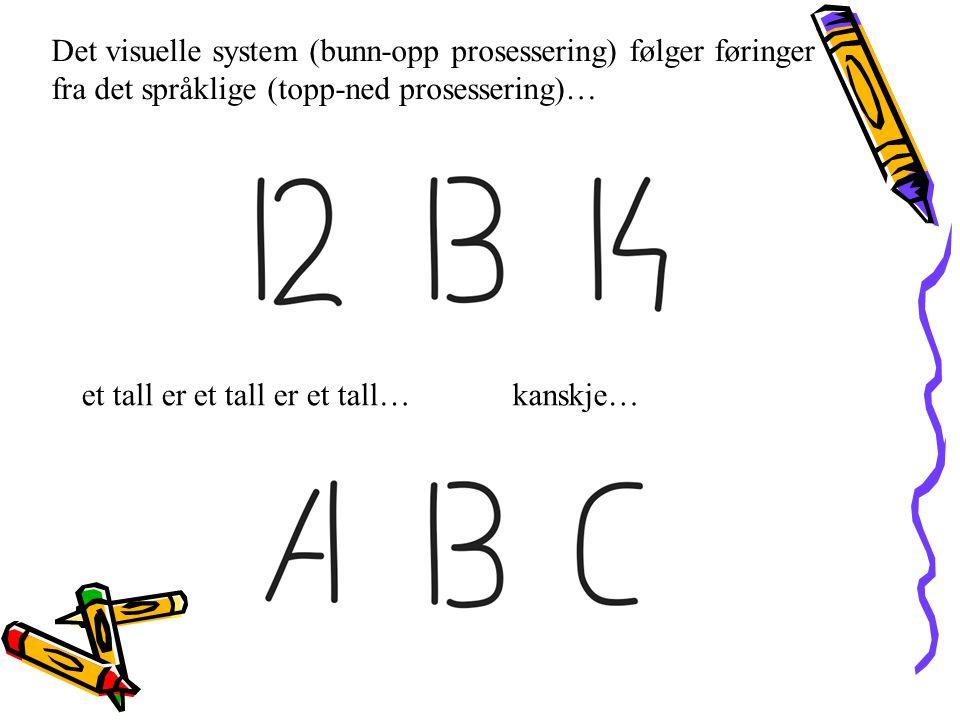 et tall er et tall er et tall…kanskje… Det visuelle system (bunn-opp prosessering) følger føringer fra det språklige (topp-ned prosessering)…